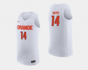 White For Men's College Basketball Braedon Bayer Syracuse Jersey #14 937639-786