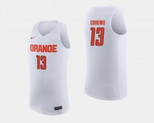 Men College Basketball Paschal Chukwu Syracuse Jersey #13 White 261347-755