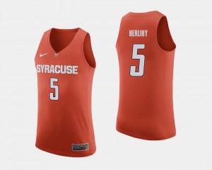College Basketball #5 Patrick Herlihy Syracuse Jersey Orange Men's 876147-370