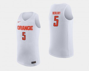 College Basketball Patrick Herlihy Syracuse Jersey White For Men #5 346826-205