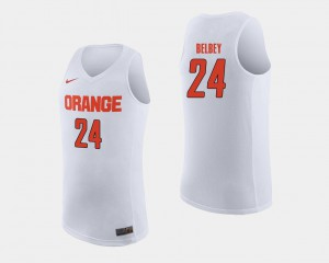 #24 College Basketball White Shaun Belbey Syracuse Jersey Mens 311950-379