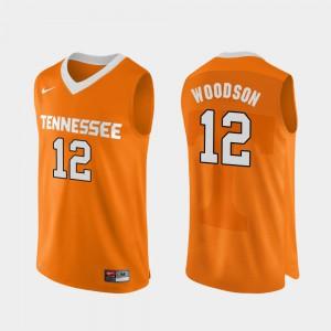 #12 Mens Authentic Performace College Basketball Brad Woodson UT Jersey Orange 746727-135