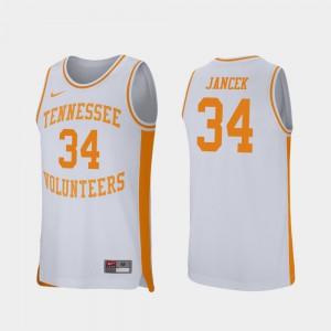 Retro Performance For Men Brock Jancek UT Jersey College Basketball #34 White 696878-273