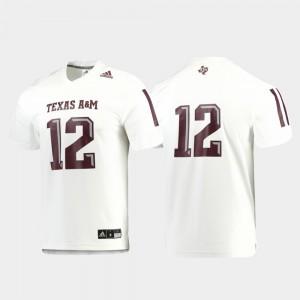 #12 Texas A&M Jersey White Men Football Replica 583177-585