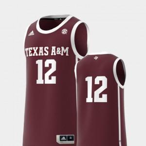 College Replica #12 Basketball Swingman Texas A&M Jersey For Men Maroon 926839-606