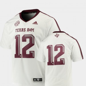 #12 Premier College Football Texas A&M Jersey White For Men's 490466-479
