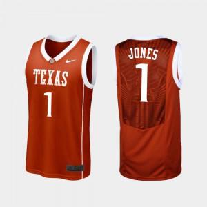 Burnt Orange #1 College Basketball Men's Replica Andrew Jones Texas Jersey 600978-673
