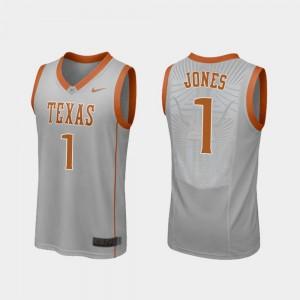Andrew Jones Texas Jersey Replica #1 For Men's Gray College Basketball 646685-226