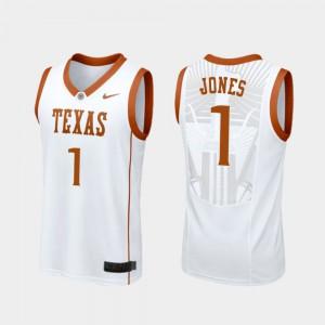 White #1 College Basketball For Men's Andrew Jones Texas Jersey Replica 991845-590