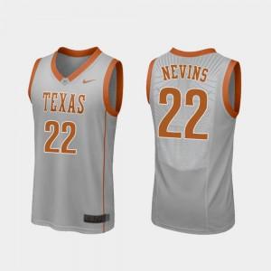 Replica Mens #22 College Basketball Blake Nevins Texas Jersey Gray 246897-126