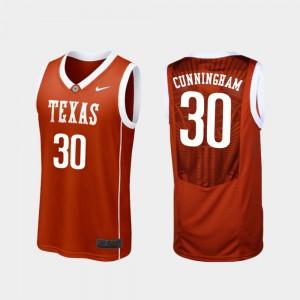 Burnt Orange Replica #30 College Basketball Brock Cunningham Texas Jersey Men 748887-850