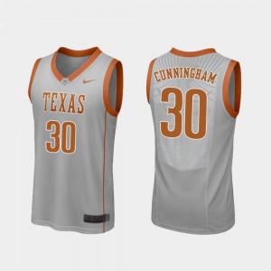Replica College Basketball Brock Cunningham Texas Jersey #30 Gray Mens 352222-265