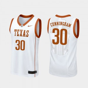 Men's #30 College Basketball Brock Cunningham Texas Jersey White Replica 871876-417