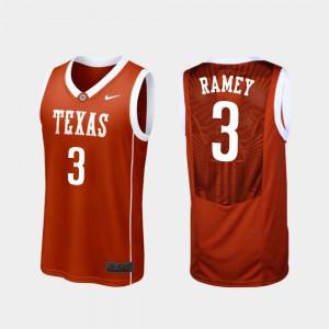 Courtney Ramey Texas Jersey #3 Men Burnt Orange College Basketball Replica 430937-506