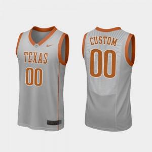 Texas Customized Jersey Gray Men #00 College Basketball Replica 956799-317