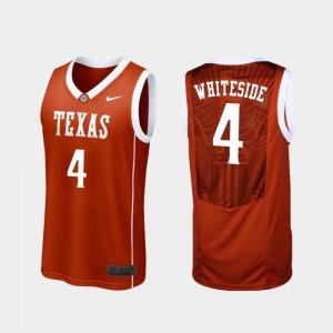 Burnt Orange Mens Drayton Whiteside Texas Jersey Replica College Basketball #4 363201-475