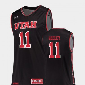 Black Replica College Basketball #11 Men Chris Seeley Utah Jersey 903708-481
