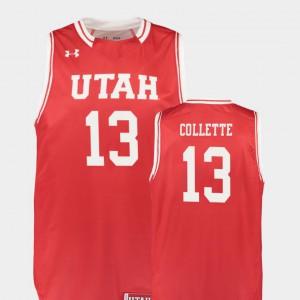 Replica #13 David Collette Utah Jersey Red Men's College Basketball 193159-758