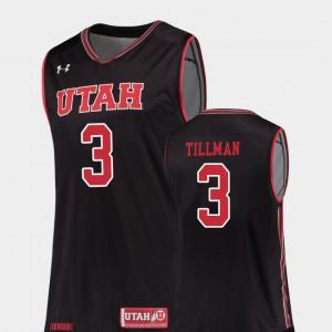 Donnie Tillman Utah Jersey College Basketball #3 Black Men Replica 343196-865