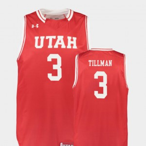 #3 Red Donnie Tillman Utah Jersey Replica College Basketball For Men 614643-380