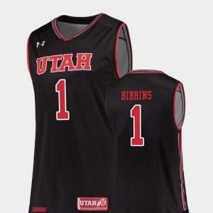 For Men's Replica #1 College Basketball Justin Bibbins Utah Jersey Black 288146-467