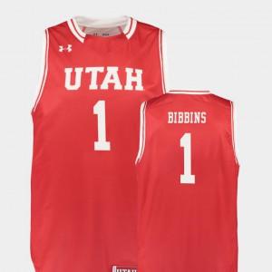 Justin Bibbins Utah Jersey College Basketball Red Mens Replica #1 797680-608