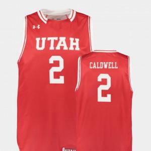 For Men College Basketball Kolbe Caldwell Utah Jersey #2 Red Replica 887941-262