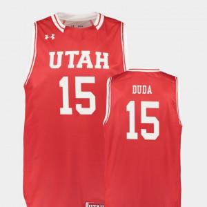 Nate Duda Utah Jersey #15 Replica Mens College Basketball Red 185796-694