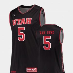 Men Black Parker Van Dyke Utah Jersey College Basketball #5 Replica 425654-739