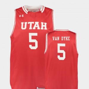 Parker Van Dyke Utah Jersey #5 Men's Replica College Basketball Red 131679-506