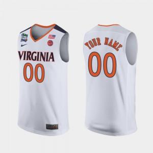 White UVA Custom Jersey 2019 Final-Four #00 For Men's 733936-882