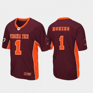 Virginia Tech Jersey Men #1 Maroon Football Max Power 345018-613