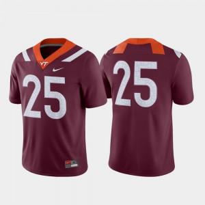 College Football Mens #25 Virginia Tech Jersey Maroon Game 923626-957