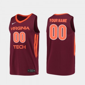 Replica Mens Virginia Tech Customized Jersey #00 2019-20 College Basketball Maroon 726638-737