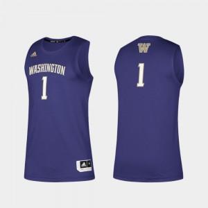 For Men's #1 Washington Jersey Swingman Basketball Basketball Swingman Purple 734776-380