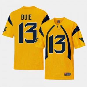 For Men College Football Gold Andrew Buie WVU Jersey #13 Replica 653422-495