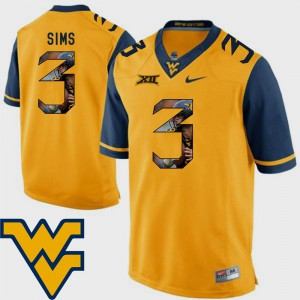 Gold Charles Sims WVU Jersey Men Football Pictorial Fashion #3 997802-629