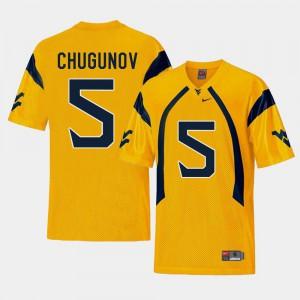 Gold #5 Replica Chris Chugunov WVU Jersey For Men's College Football 586047-952