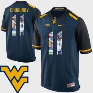 Navy Pictorial Fashion For Men Football #11 Chris Chugunov WVU Jersey 299707-555