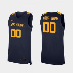 For Men's College Basketball Navy Replica WVU Custom Jersey #00 423244-491