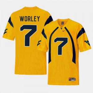 For Men's Daryl Worley WVU Jersey #7 Gold College Football Replica 121103-372