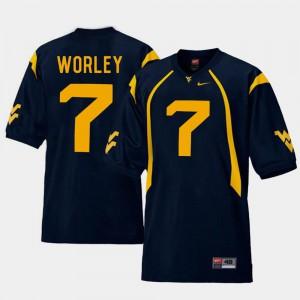 #7 College Football Replica Daryl Worley WVU Jersey Navy Mens 685242-474
