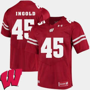 2018 NCAA Red Alumni Football Game #45 Mens Alec Ingold Wisconsin Jersey 126380-198