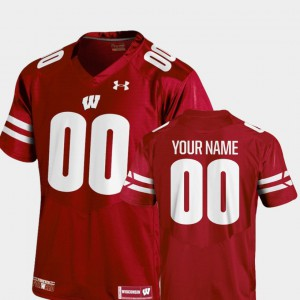 2018 TC Wisconsin Customized Jerseys #00 College Football Men's Red 354318-791