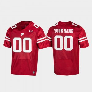 Wisconsin Customized Jerseys Red #00 Football For Men's Replica 386784-415