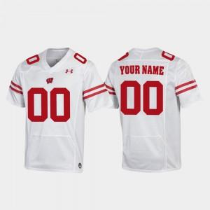 White Mens Wisconsin Customized Jerseys Football #00 Replica 539625-901
