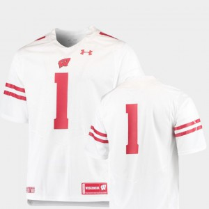 Wisconsin Jersey #1 College Football For Men's Team Replica White 857397-652