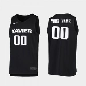 For Men's Replica Xavier Customized Jersey Black #00 2019-20 College Basketball 936007-885