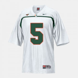 Andre Johnson Miami Jersey White #5 For Kids College Football 684439-527