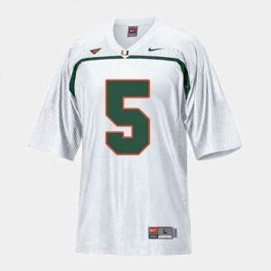 White Andre Johnson Miami Jersey College Football Men #5 120503-519